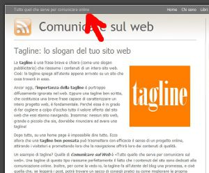 tagline di un sito web