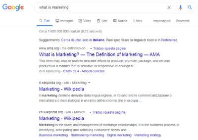 esempio di serp di google